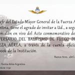 Fuerza Aérea transmitirá en vivo el acto por el Bautismo de Fuego