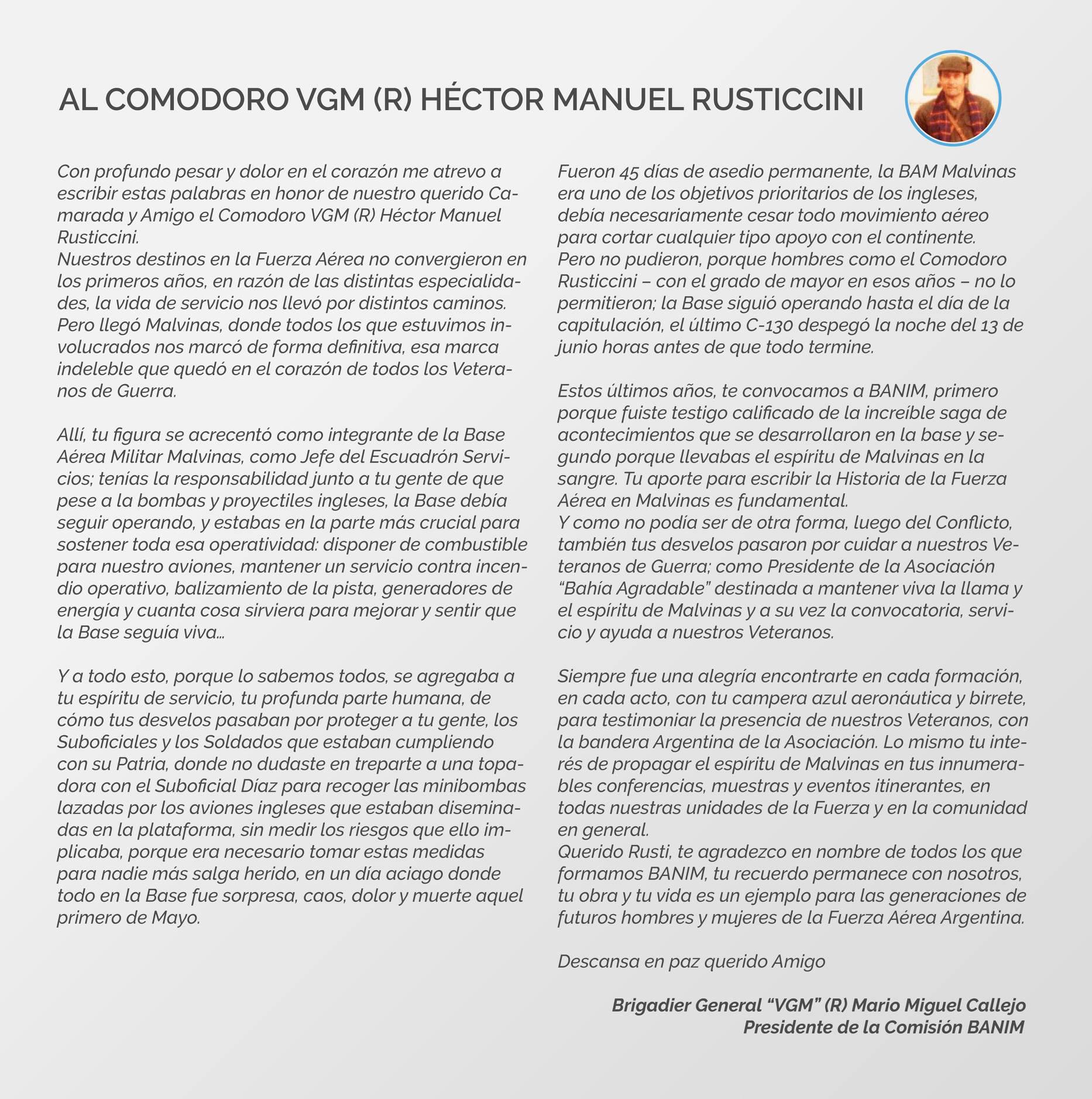 carta al Comodoro Rusticcini